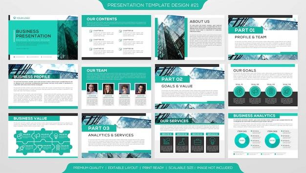 Folheto comercial ou perfil corporativo com várias páginas Vetor Premium