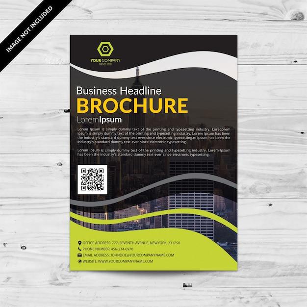 Folheto comercial preto com detalhes ondulados verdes Vetor grátis