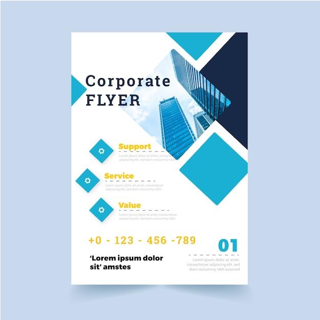 Folheto corporativo com formas e foto Vetor grátis