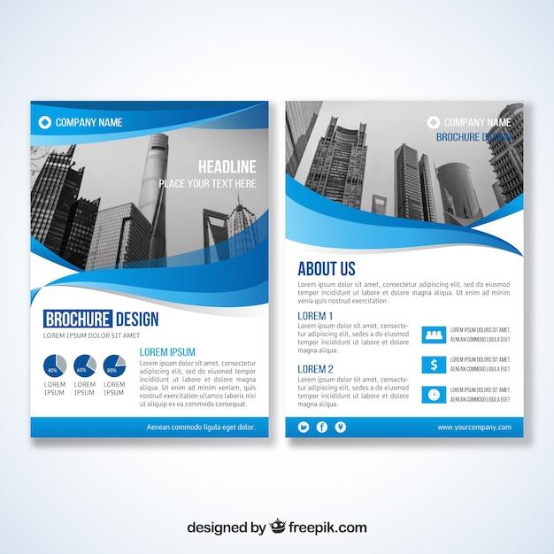 Folheto corporativo de ondas azuis Vetor Premium