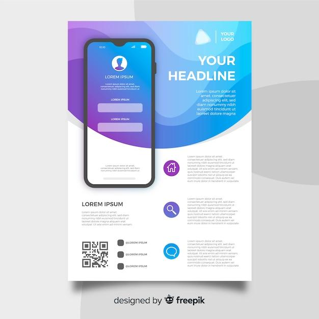 Folheto de aplicativo para dispositivos móveis Vetor grátis
