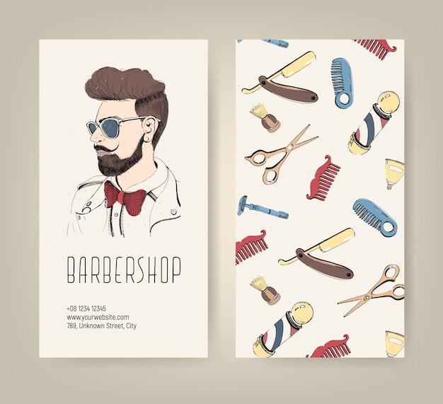 Folheto de barbearia com ferramentas de barbeiro e corte de cabelo de homem na moda. ilustração colorida. Vetor Premium
