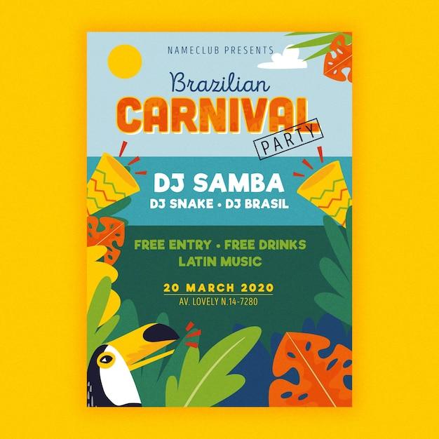 Folheto de carnaval brasileiro desenhado de mão Vetor grátis
