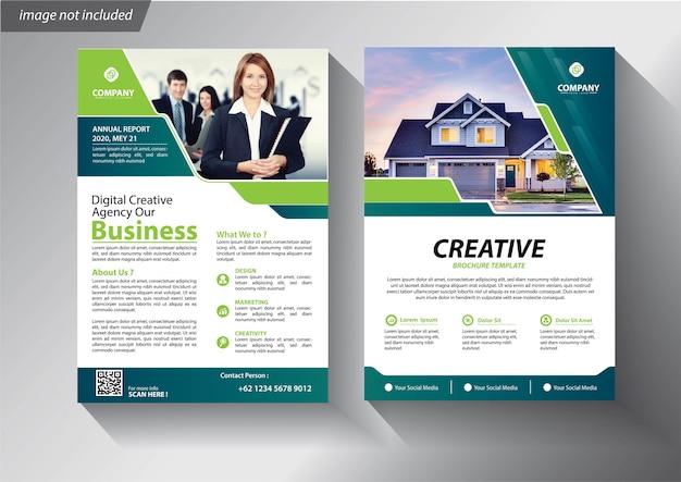 Folheto de cartaz de relatório anual de layout de folheto com forma geométrica Vetor Premium