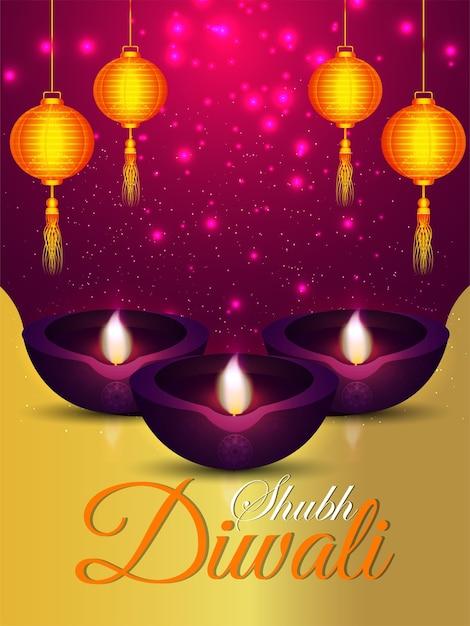 Folheto de celebração do shubh diwali Vetor Premium