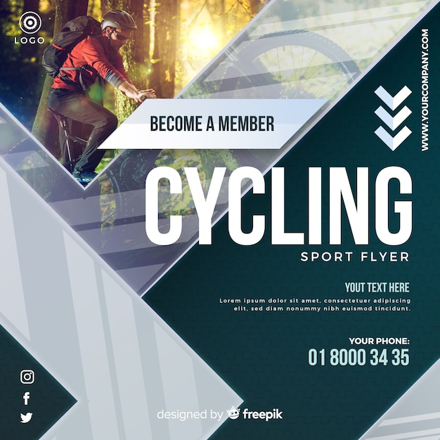Folheto de ciclismo Vetor grátis