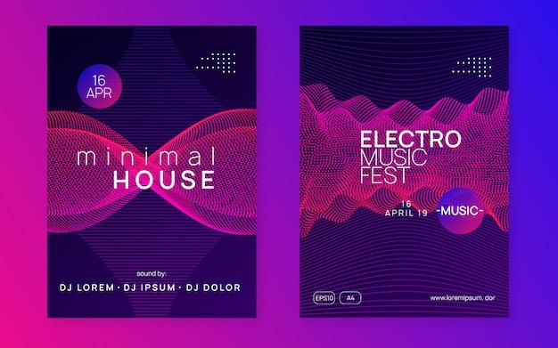 Folheto de clube de néon. electro dance music. trance party dj. electroni Vetor Premium