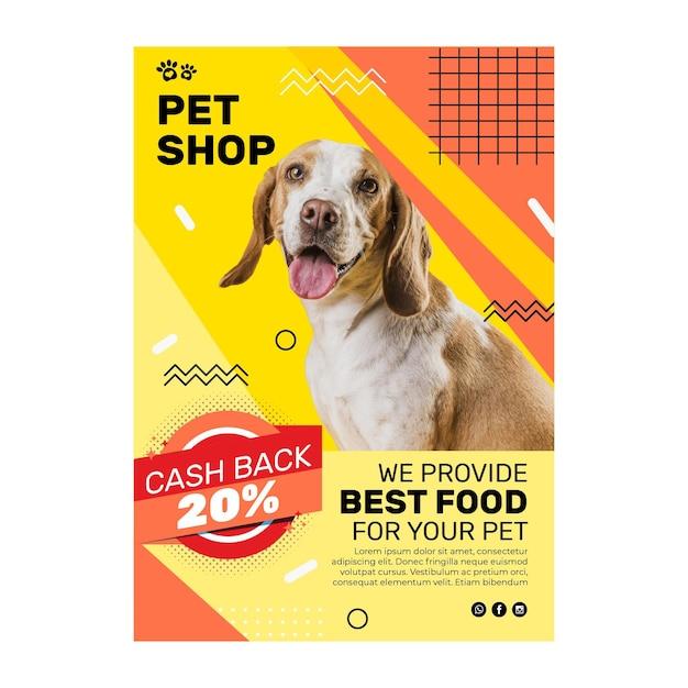 Folheto de comida animal vertical Vetor Premium