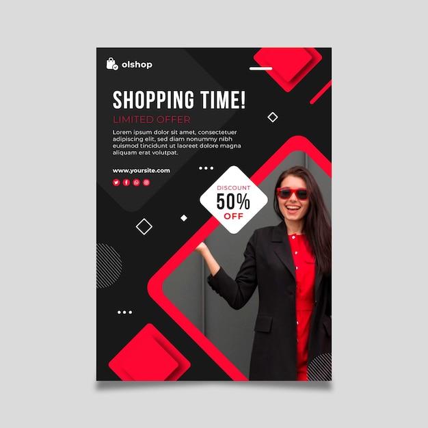 Folheto de compras online vertical Vetor grátis