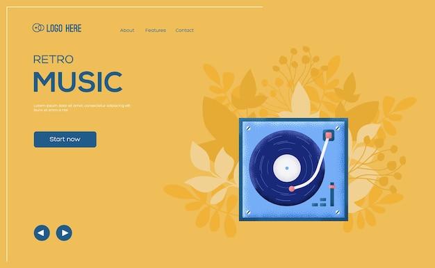 Folheto de conceito de jogador de vinil, banner da web, cabeçalho da interface do usuário, insira o site. Vetor Premium