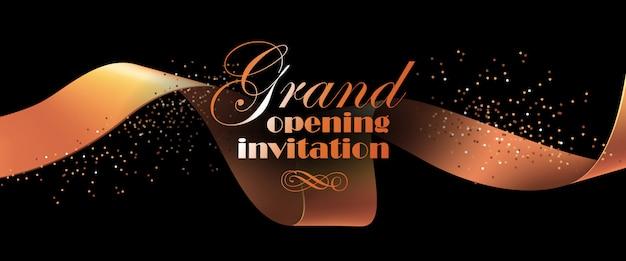 Folheto de convite de inauguração com fita de ouro Vetor grátis