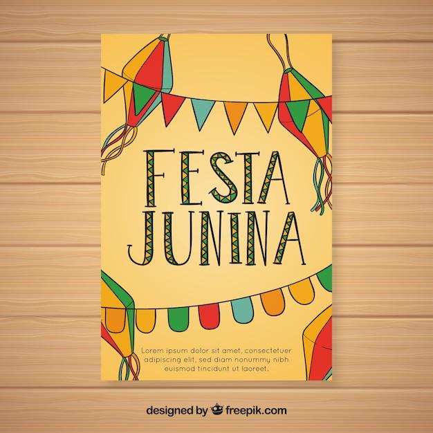 Folheto De Convite Festa Junina Com Galhardetes Coloridos Baixar