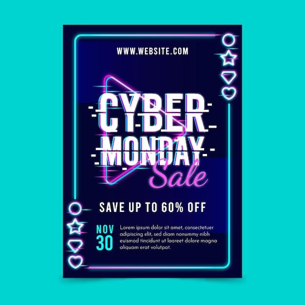 Folheto de cyber segunda-feira com glitch Vetor grátis