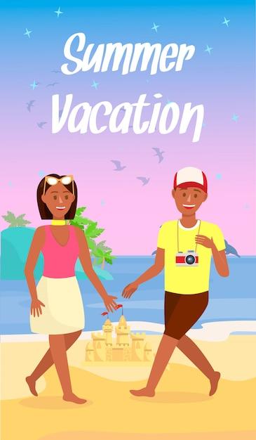 Folheto de desenhos animados de férias de verão com texto, letras Vetor Premium