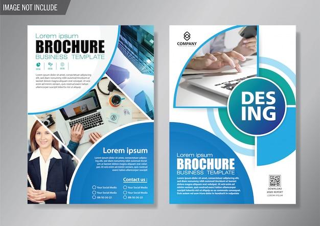 Folheto de design e brochura modelo de negócios para o relatório anual Vetor Premium