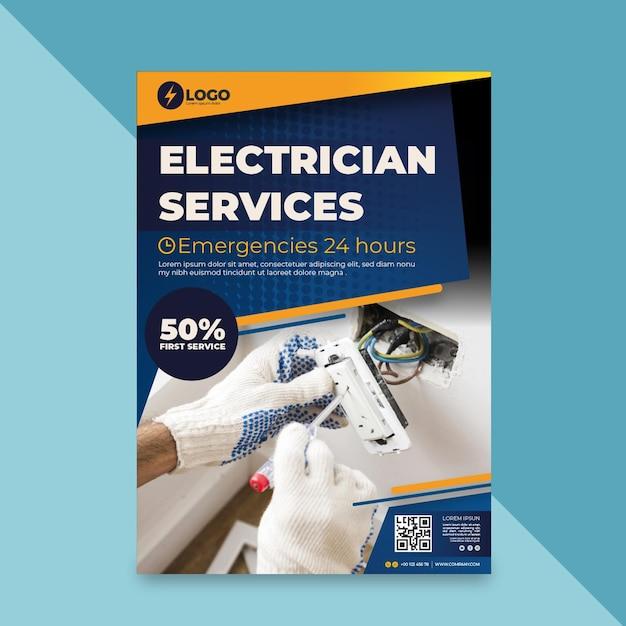 Folheto de eletricista vertical Vetor Premium