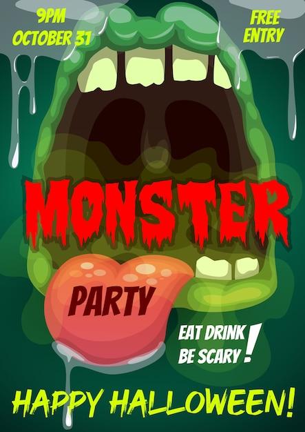 Folheto de feliz festa de halloween com boca de monstro Vetor Premium