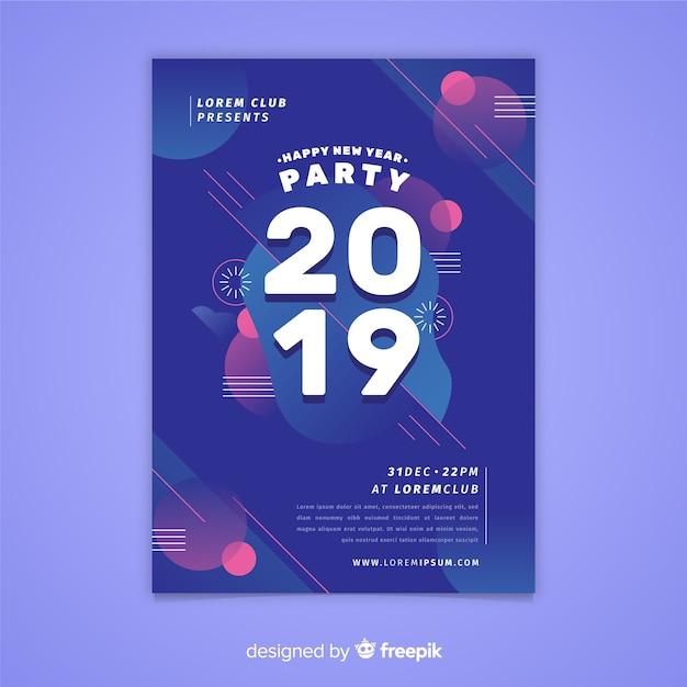 Folheto de festa de ano novo 2019 Vetor grátis