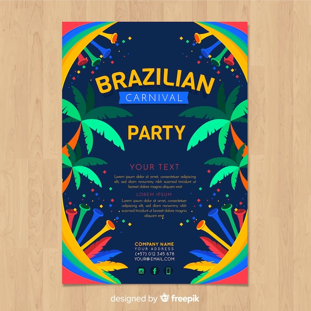 Folheto de festa de carnaval brasileiro Vetor grátis