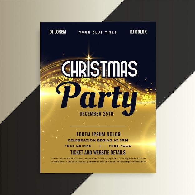 Folheto de festa de convite de natal premium dourado brilhante Vetor grátis