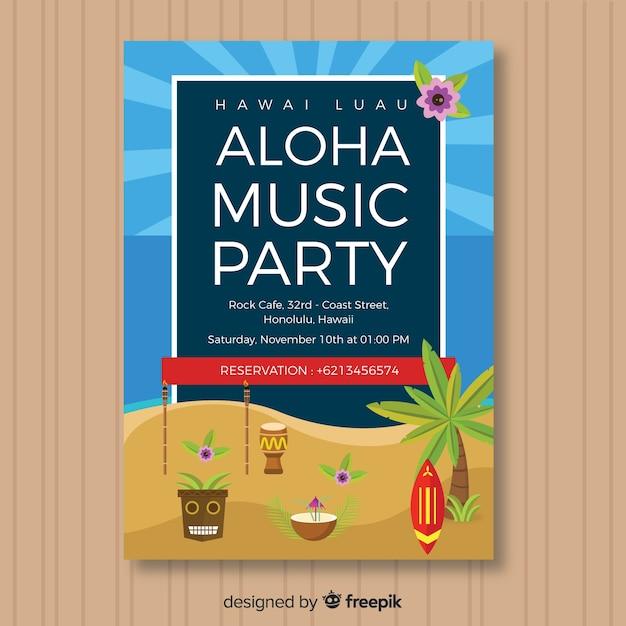 Folheto de festa de música aloha Vetor grátis