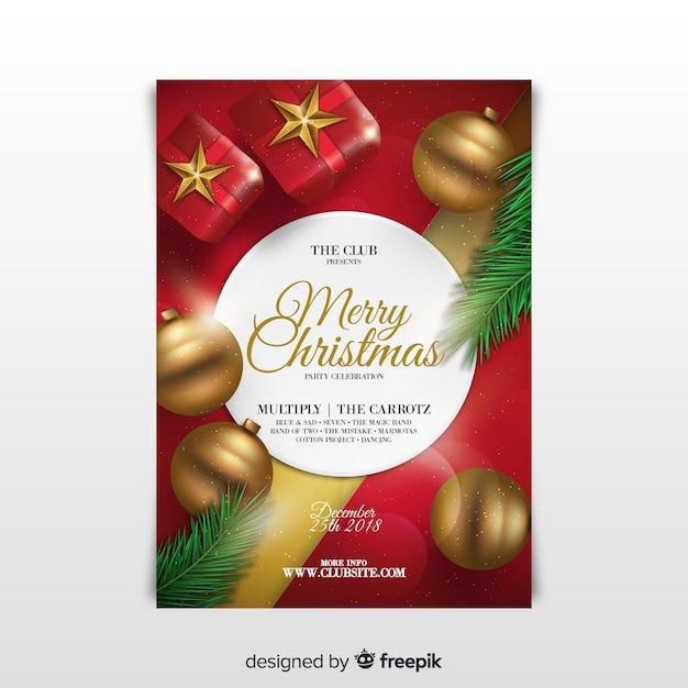 Folheto de festa de natal Vetor grátis