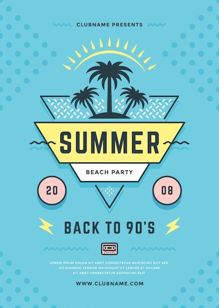 Folheto de festa de praia de verão ou tipografia de modelo de cartaz dos anos 90 Vetor Premium