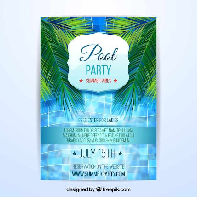 Folheto de festa de verão com piscina Vetor grátis