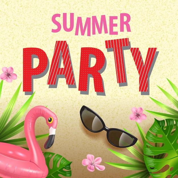 Folheto de festa de verão elegante com folhas tropicais, oink flores, óculos escuros e flamingo Vetor grátis