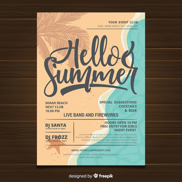 Folheto de festa de verão Vetor grátis
