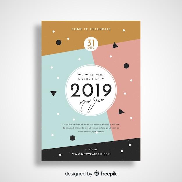 Folheto de festa geométrico ano novo 2019 Vetor grátis
