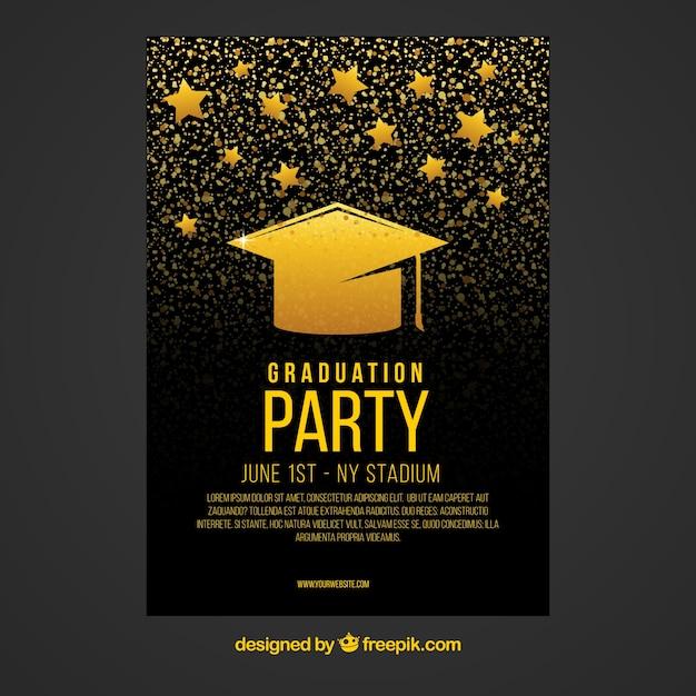 Folheto de festa preto e ouro com boné de graduação e estrelas Vetor grátis