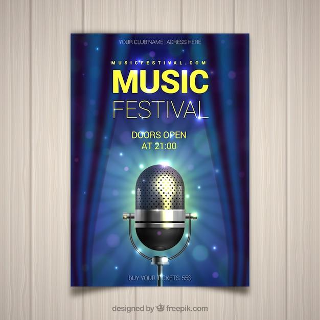 Folheto de festival de música com microfone em estilo realista Vetor grátis