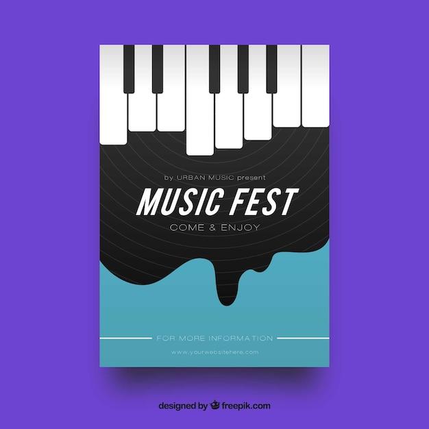 Folheto de festival de música com piano em estilo simples Vetor grátis