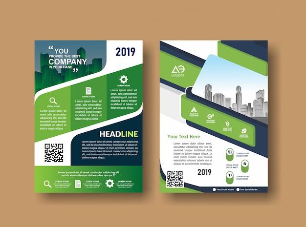 Folheto de folheto de layout de capa para evento e relatório Vetor Premium