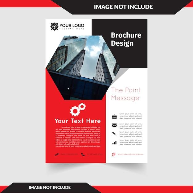 Folheto de fundo vermelho com elemento poligonal Vetor Premium