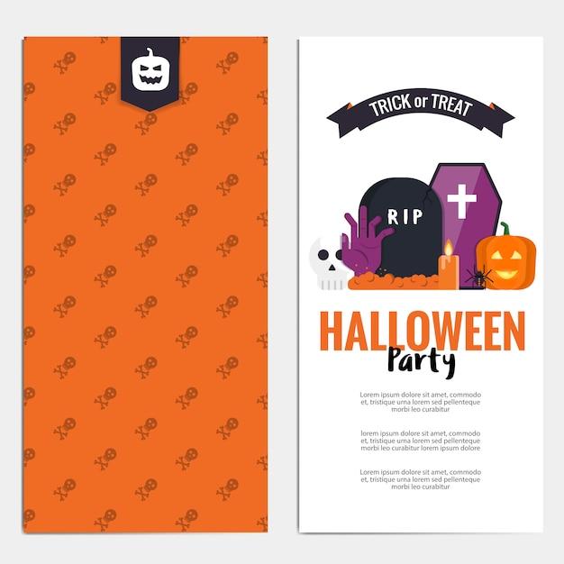 Folheto de hallowen Vetor Premium