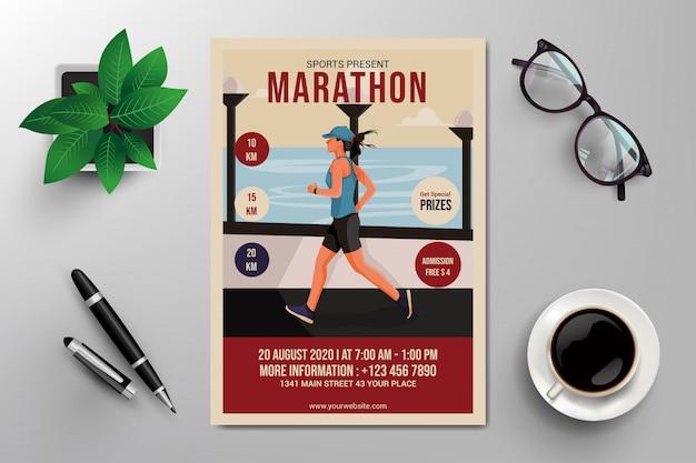 Folheto de maratona Vetor Premium