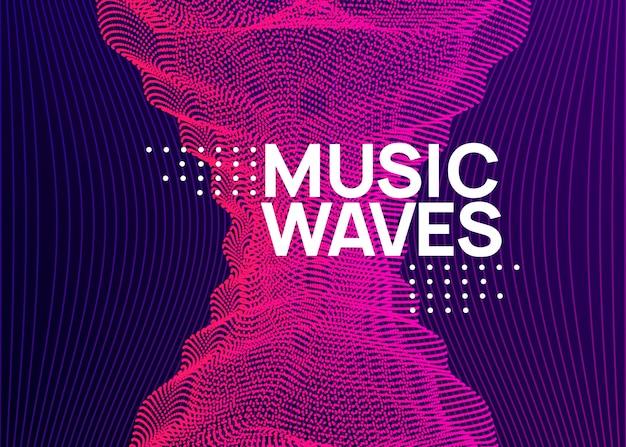 Folheto de música fest néon. dança electro. som de transe eletrônico. t Vetor Premium
