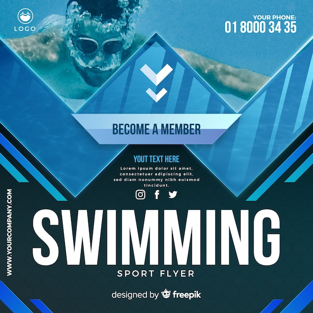 Folheto de natação Vetor grátis