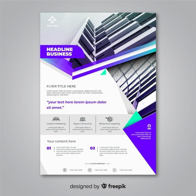 Folheto de negócios abstratos com modelo de foto Vetor grátis