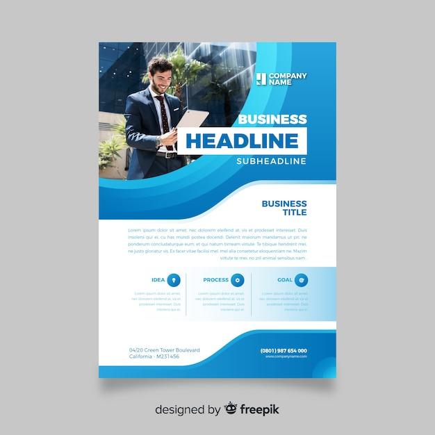 Folheto de negócios abstratos modelo com foto Vetor grátis
