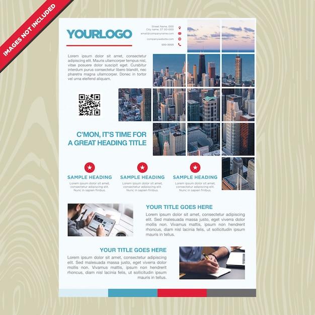 Folheto de negócios com quadro em mosaico Vetor grátis