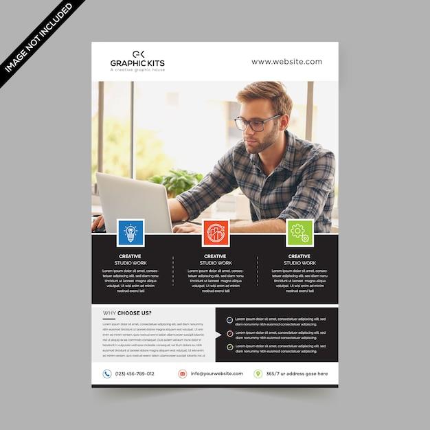 Folheto de negócios mínimo Vetor Premium