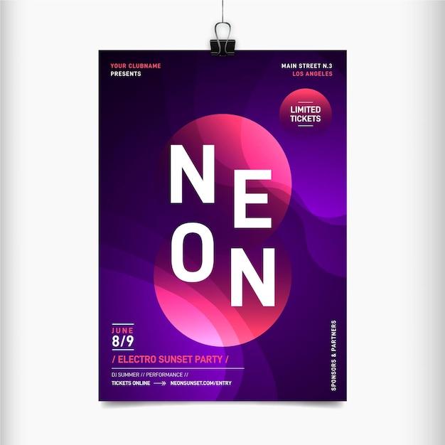 Folheto de néon para festival de música Vetor grátis