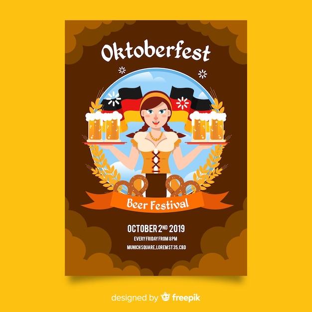 Folheto de oktoberfest desenhado mão Vetor grátis