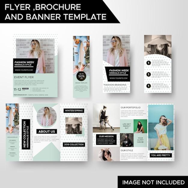 Folheto de panfleto de negócios de moda criativa e modelo de banner Vetor Premium
