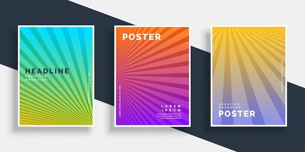 Folheto de panfletos vibrantes conjunto com listras de raios Vetor grátis