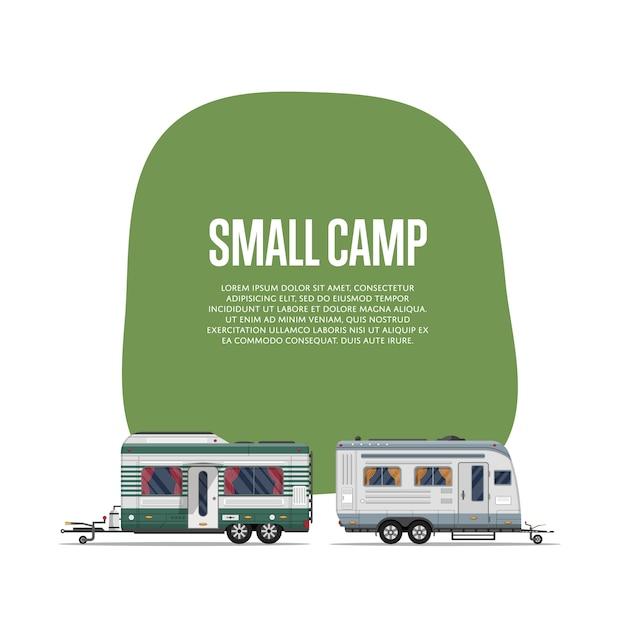 Folheto de pequeno acampamento com trailers de viagem Vetor Premium