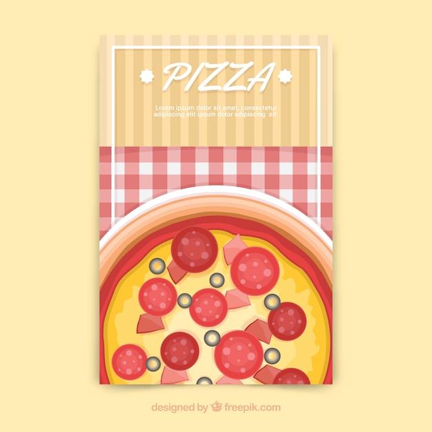 Folheto de pizza e toalha de mesa Vetor grátis